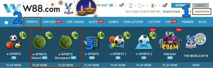 New Esports Games 2020 - W88 e-Sports - Asian and European